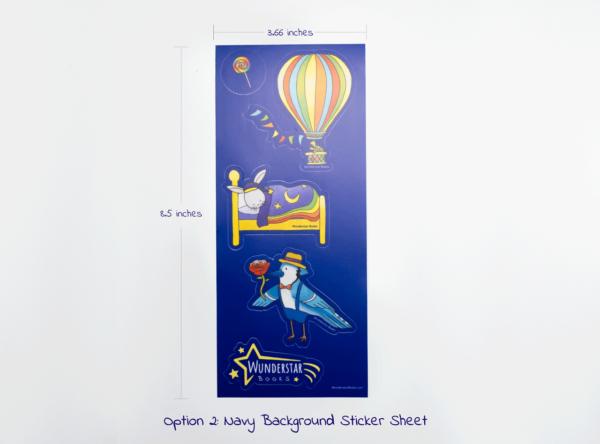 Navy Background Stickers, Blue Jay, Bunny, Lollipop, hot air balloon